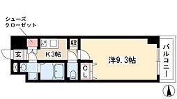 プリフェラブル栄 3階1Kの間取り