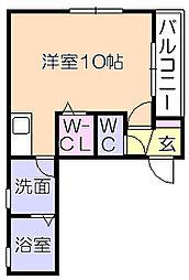 BEREO矢野 2階ワンルームの間取り