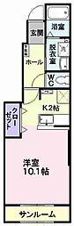 JR奥羽本線 山形駅 バス14分 消防署前下車 徒歩6分の賃貸アパート 1階1Kの間取り