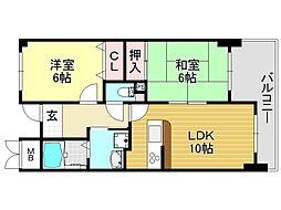 ラシーヌK[3O6号室号室]の間取り