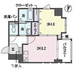 アディーレ西新[4階]の間取り