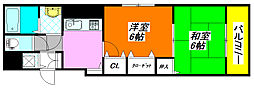コーポ・陣内II 401号室[4階]の間取り