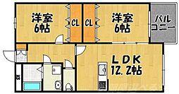 ブランボヌール小倉[4階]の間取り