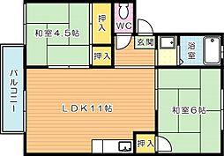 プレジール福西 B棟[1階]の間取り