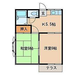 千葉県柏市根戸の賃貸アパートの間取り