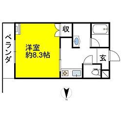 JR北陸本線 長浜駅 徒歩29分の賃貸マンション 1階1Kの間取り
