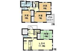 外観:4LDK、土地価格3980万円、土地面積110.01?、建物価格1600万円、建物面積103.71?