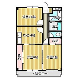 愛知県名古屋市中川区かの里1丁目の賃貸アパートの間取り