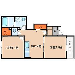 奈良県桜井市浅古の賃貸アパートの間取り