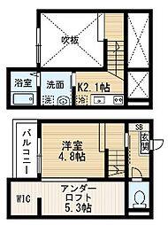 愛知県名古屋市中川区小本本町2丁目の賃貸アパートの間取り