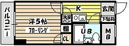 トーカン東淀川キャステール[608号室]の間取り