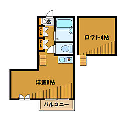 東京都国分寺市西恋ヶ窪4丁目の賃貸アパートの間取り