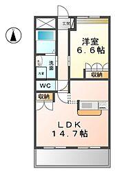 愛知県清須市春日寺廻りの賃貸マンションの間取り
