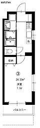 東武東上線 和光市駅 徒歩8分の賃貸マンション 3階1Kの間取り