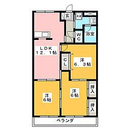 シャングリラ弐番館[2階]の間取り