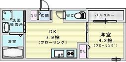 JR東西線 加島駅 徒歩4分の賃貸アパート 3階1DKの間取り