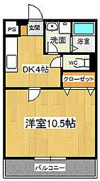 ドミール参番館2 3階1DKの間取り