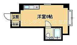 Osaka Metro谷町線 野江内代駅 徒歩8分の賃貸マンション 5階ワンルームの間取り