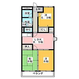OAK CITY N-E[1階]の間取り