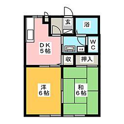 ヴィラージュ鎌倉B 2階2DKの間取り