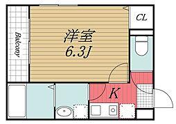 JR総武線 稲毛駅 徒歩12分の賃貸アパート 3階1Kの間取り
