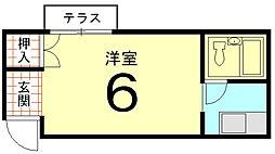 ハイツ村岡[102号室]の間取り