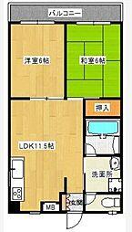 トータスマンション[402号室]の間取り