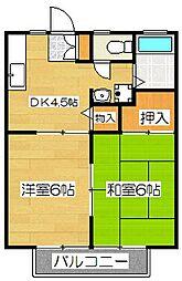 福岡県太宰府市通古賀6丁目の賃貸アパートの間取り