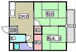 ユニメント鏡畑[2階]の間取り