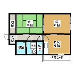 ラーク安田 PARTI[4階]の間取り