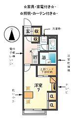 愛知県あま市篠田小町塚の賃貸アパートの間取り