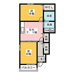 フローラルグリーンA棟[1階]の間取り