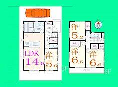 1区画の建物参考プラン。価格、1140万円。