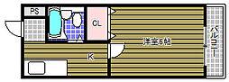 サンロワール北野田 2階1Kの間取り