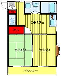 サンフラッツ 3階2DKの間取り