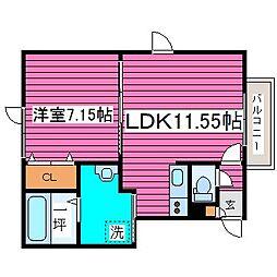 北海道札幌市北区南あいの里5丁目の賃貸アパートの間取り