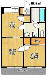 パレ・ドール小川[102号室]の間取り
