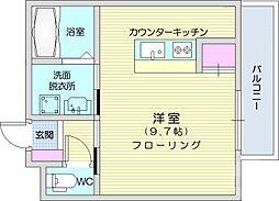 仙台市地下鉄東西線 大町西公園駅 徒歩20分の賃貸アパート 1階ワンルームの間取り