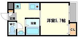 エム・ステージ新大阪 1階1Kの間取り