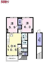 埼玉県東松山市幸町の賃貸アパートの間取り