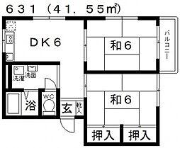 ハイツタケダ[201号室号室]の間取り