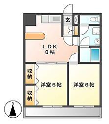 ガーデンコート新栄[2階]の間取り