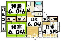 福岡県春日市下白水北1丁目の賃貸アパートの間取り