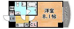 阪神本線 岩屋駅 徒歩4分の賃貸マンション 3階1Kの間取り
