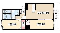愛知県名古屋市瑞穂区彌富ケ丘町1丁目の賃貸マンションの間取り