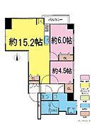 2LDK・専有面積61.27平米・バルコニー面積2.7平米。全室窓が有る、3方向角部屋。3LDKに間取り変更可能(要費用)。ペット飼育可能です。