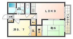 東ハイツ 1階2LDKの間取り