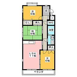 愛知県豊田市寿町4丁目の賃貸マンションの間取り