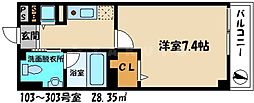 京阪本線 古川橋駅 徒歩16分の賃貸マンション 1階1Kの間取り