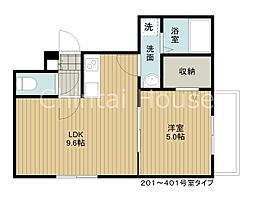 JR函館本線 江別駅 徒歩6分の賃貸マンション 4階1LDKの間取り